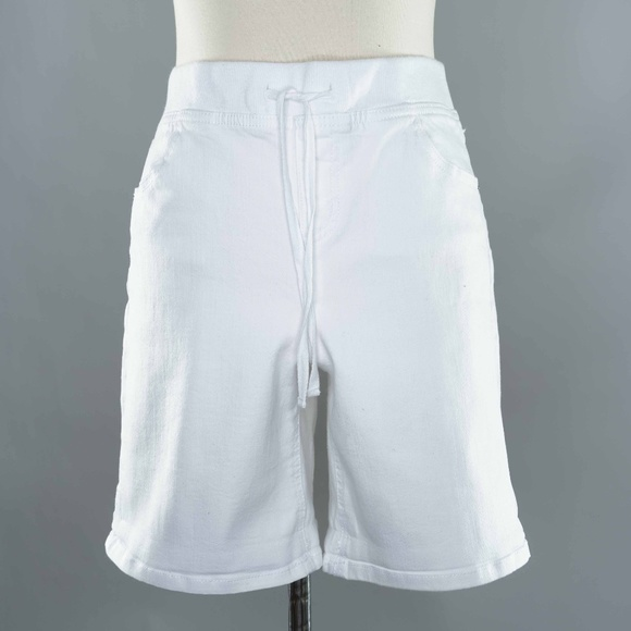 Justice Pants - Justice Sz 18 White Fabric Drawstring Long Shorts